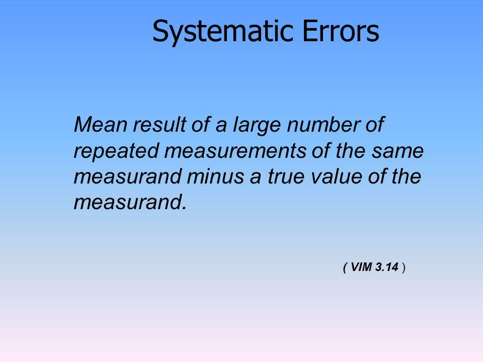 Systematic Errors ( VIM 3.14 )