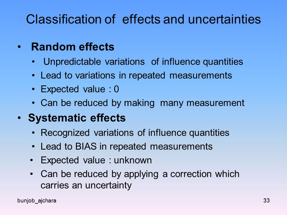 Classification of effects and uncertainties