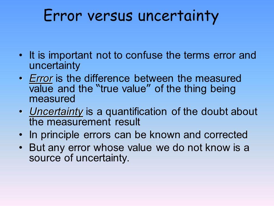 Error versus uncertainty