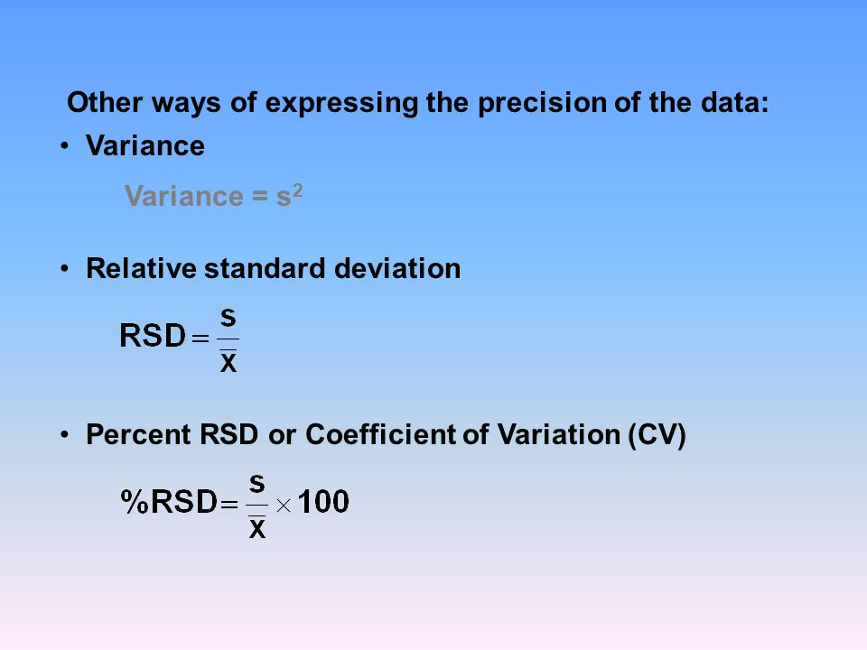 Other ways of expressing the precision of the data: