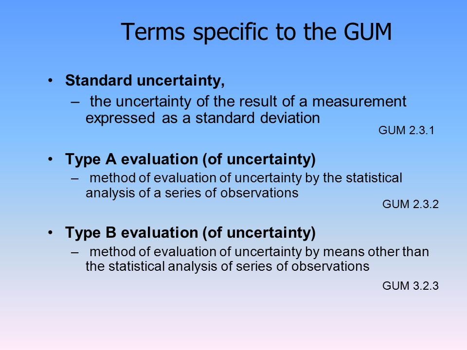Terms specific to the GUM