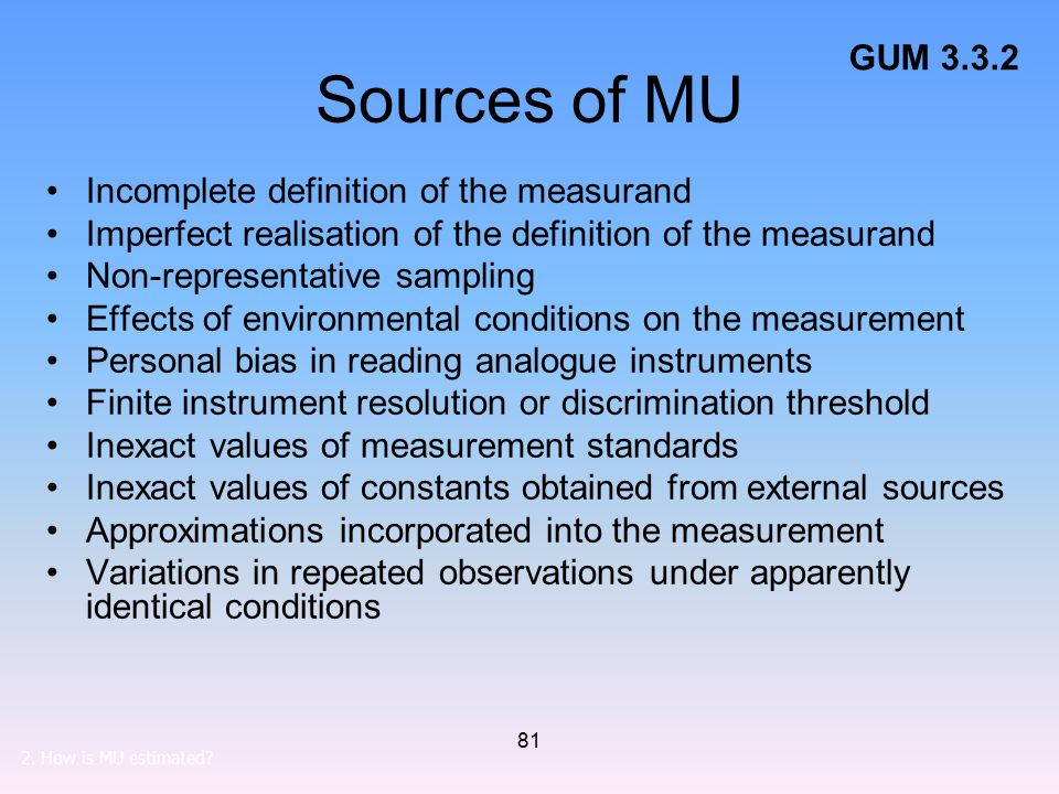 Sources of MU GUM 3.3.2 Incomplete definition of the measurand