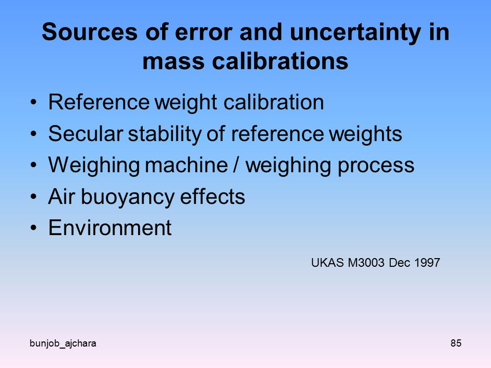 Sources of error and uncertainty in mass calibrations