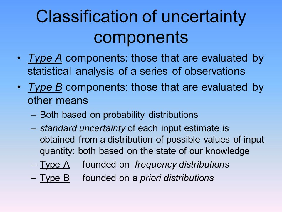 Classification of uncertainty components