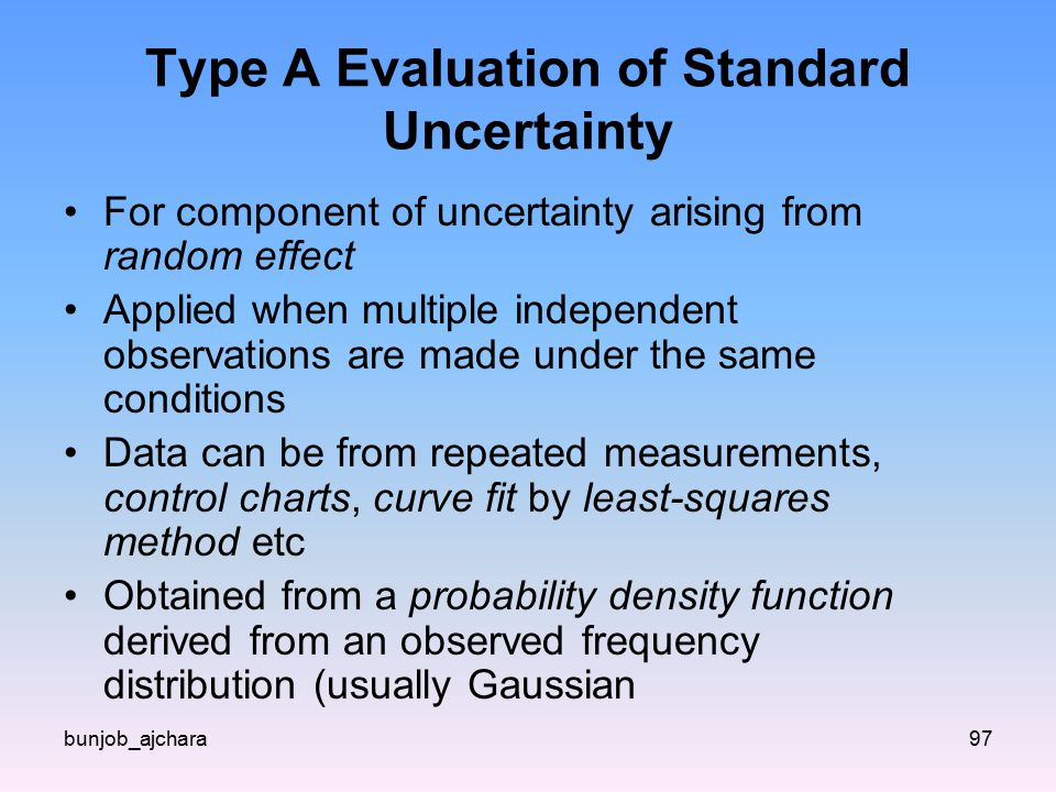 Type A Evaluation of Standard Uncertainty