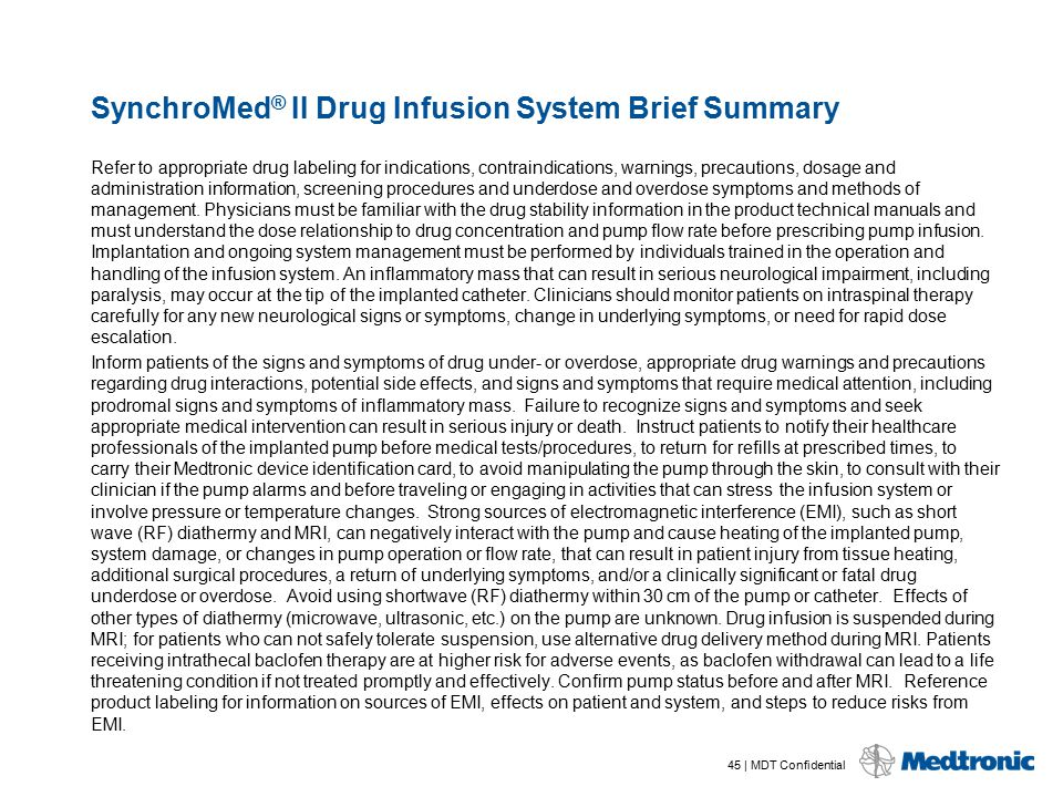 SynchroMed® II Drug Infusion System Brief Summary