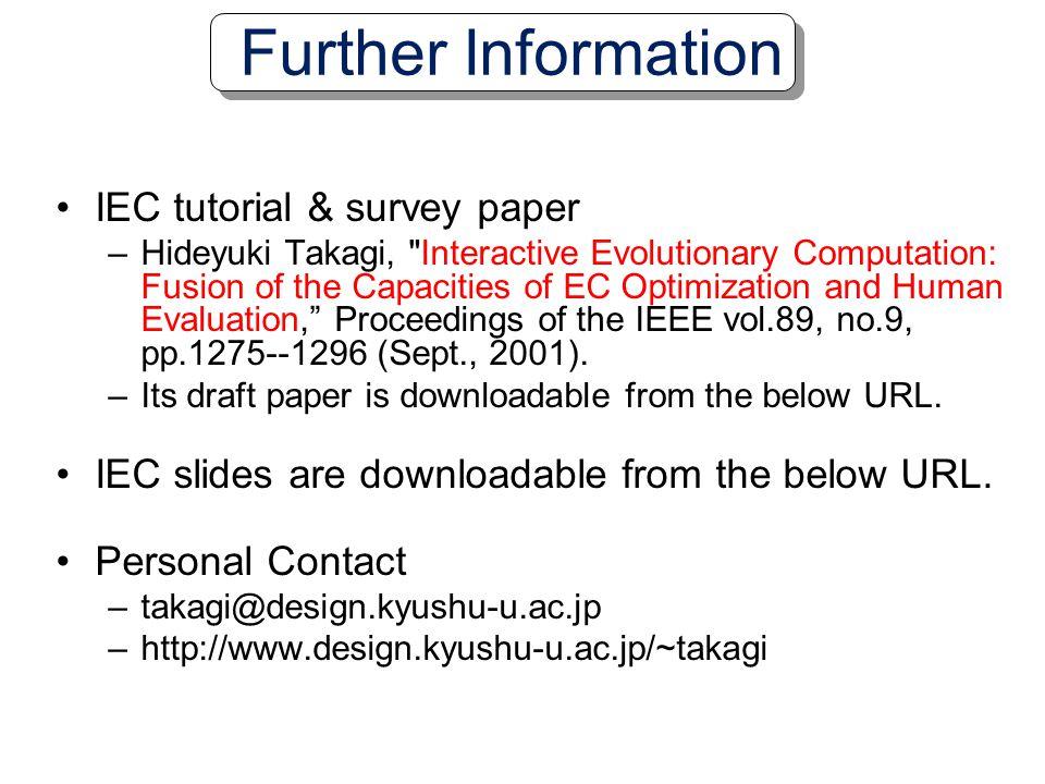 Further Information IEC tutorial & survey paper
