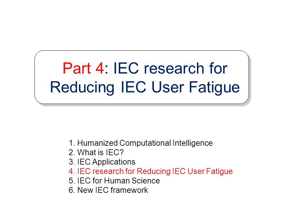 Part 4: IEC research for Reducing IEC User Fatigue