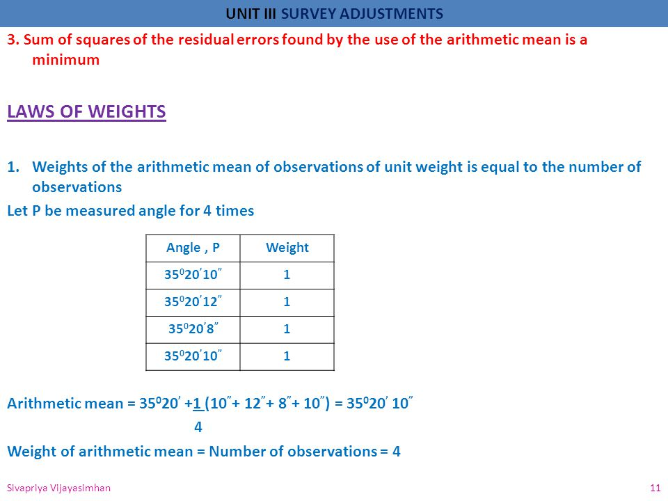 3. Sum of squares of the residual errors found by the use of the arithmetic mean is a minimum
