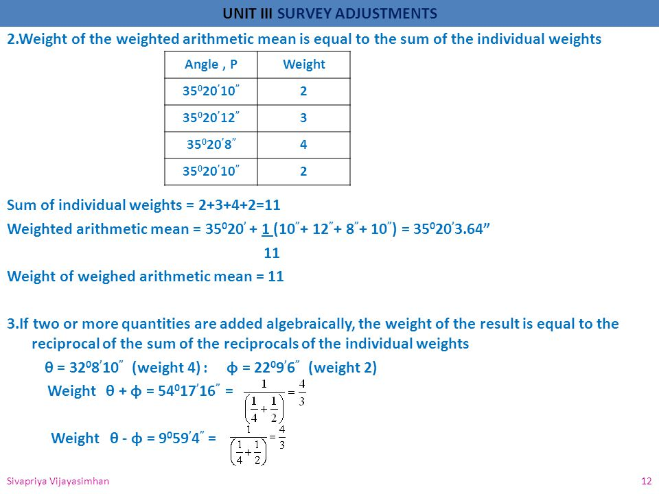 2.Weight of the weighted arithmetic mean is equal to the sum of the individual weights Sum of individual weights = =11 Weighted arithmetic mean = 35020' + 1 ( ) = 35020' Weight of weighed arithmetic mean = 11 3.If two or more quantities are added algebraically, the weight of the result is equal to the reciprocal of the sum of the reciprocals of the individual weights θ = 3208'10 (weight 4) : ɸ = 2209'6 (weight 2) Weight θ + ɸ = 54017'16 = Weight θ - ɸ = 9059'4 =