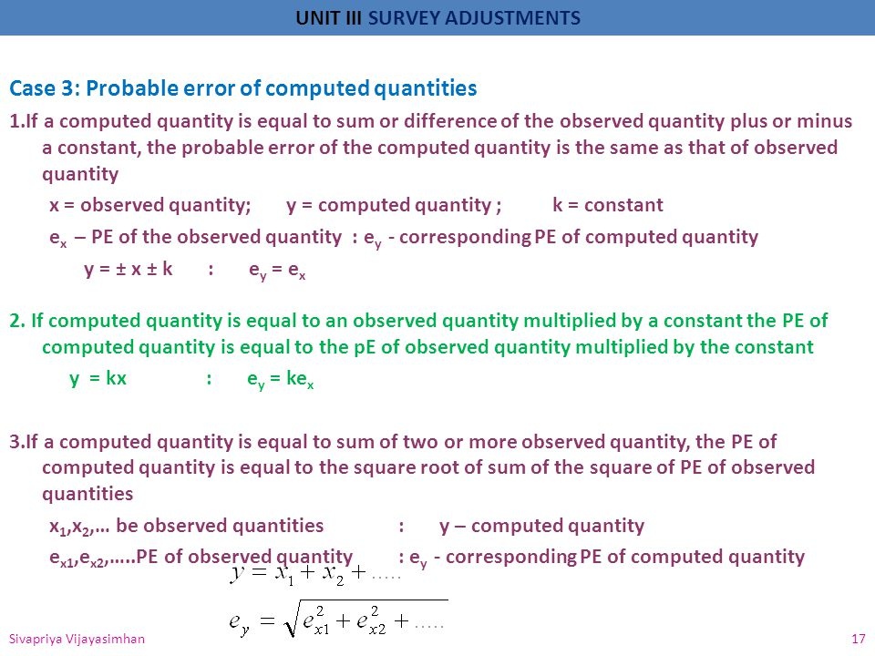 Case 3: Probable error of computed quantities