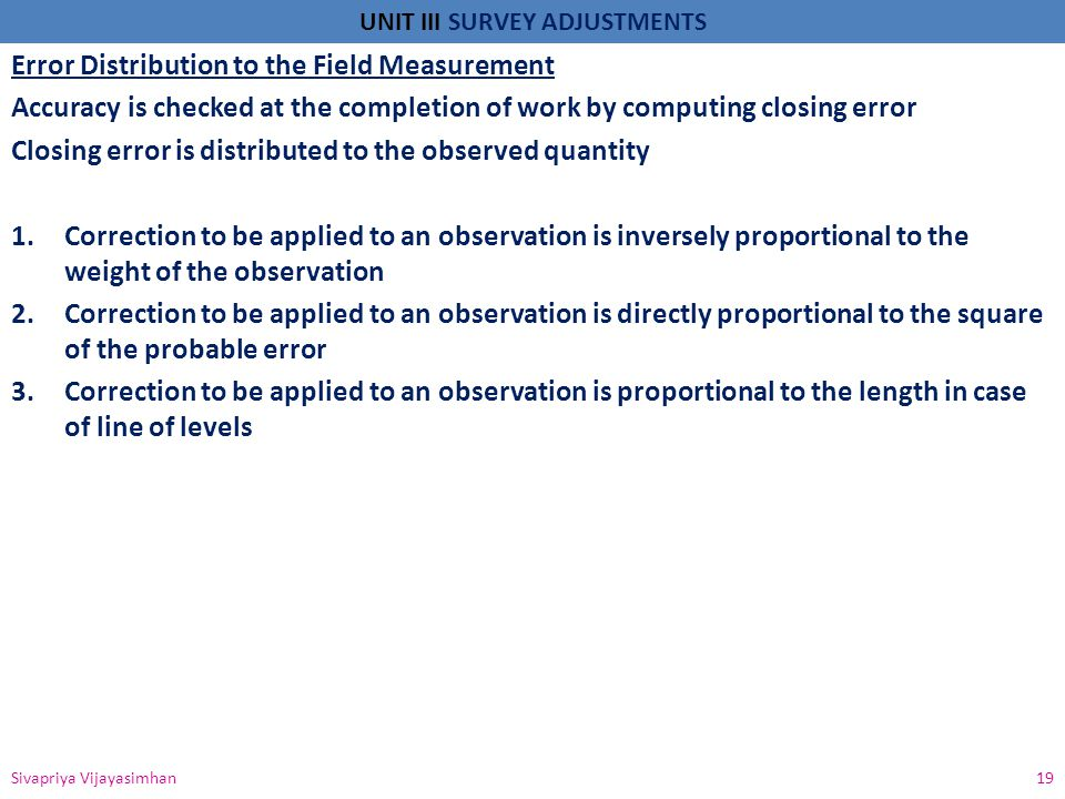 Error Distribution to the Field Measurement