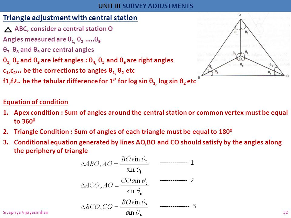 Triangle adjustment with central station