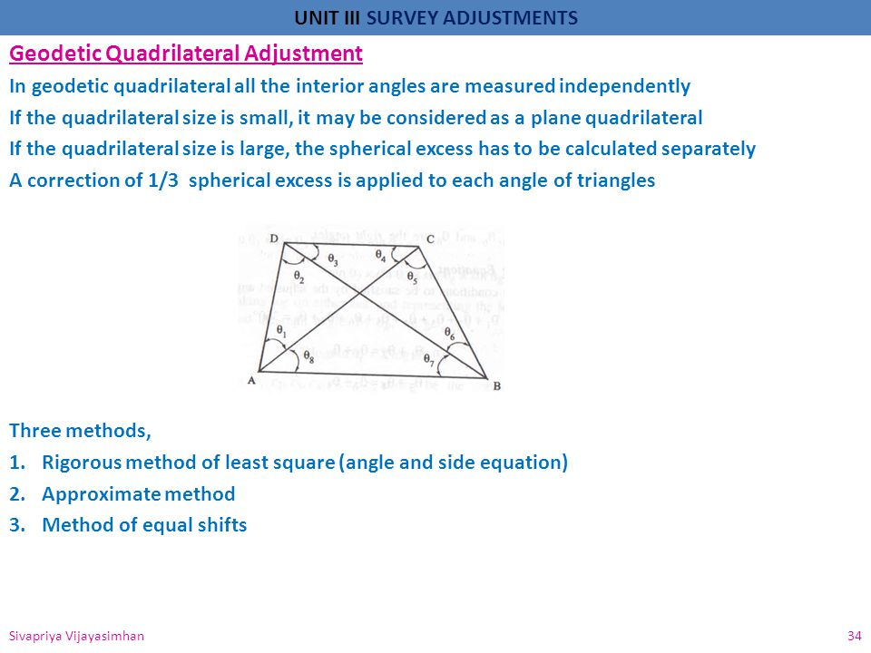 Geodetic Quadrilateral Adjustment
