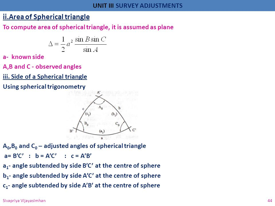 ii.Area of Spherical triangle
