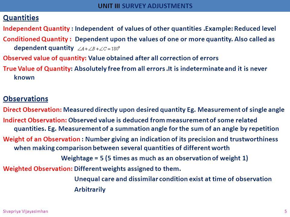 Quantities Observations