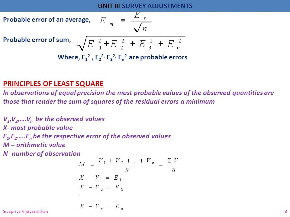PRINCIPLES OF LEAST SQUARE