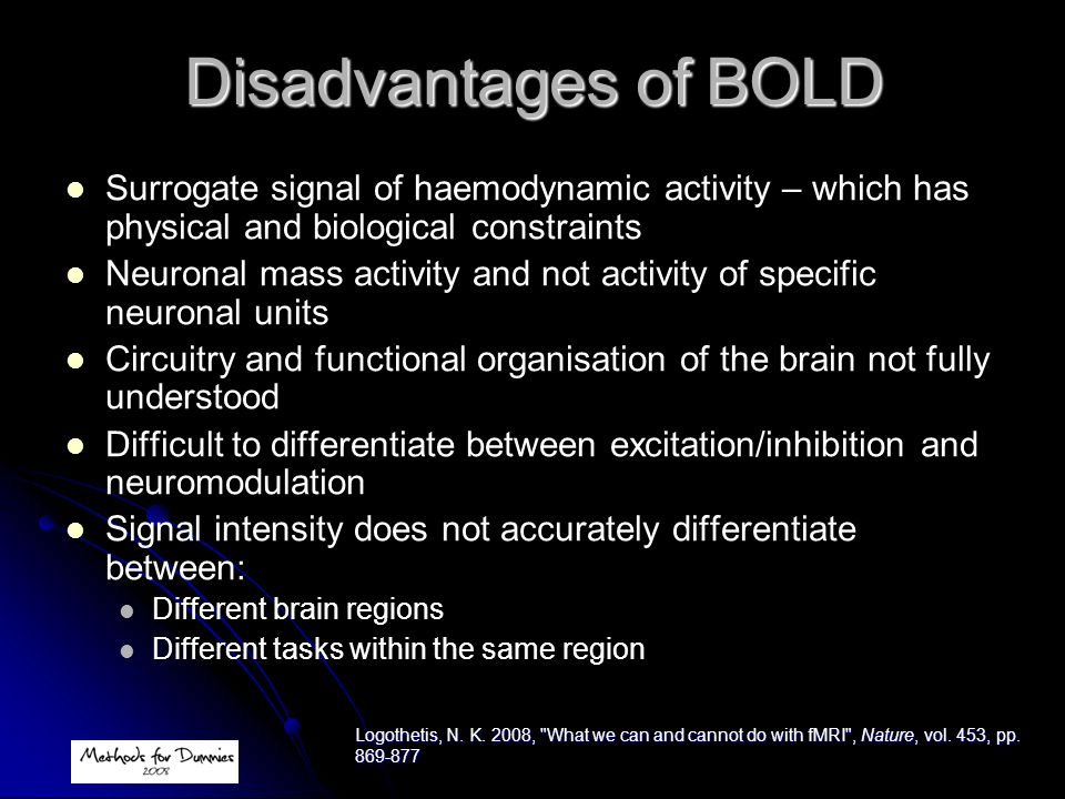 Disadvantages of BOLD Surrogate signal of haemodynamic activity – which has physical and biological constraints.