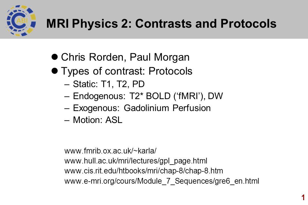 MRI Physics 2: Contrasts and Protocols