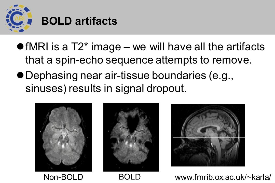 BOLD artifacts fMRI is a T2* image – we will have all the artifacts that a spin-echo sequence attempts to remove.