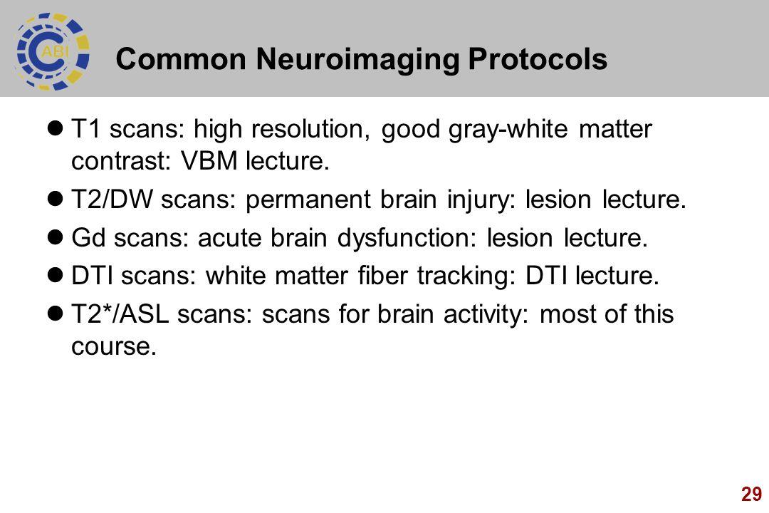 Common Neuroimaging Protocols