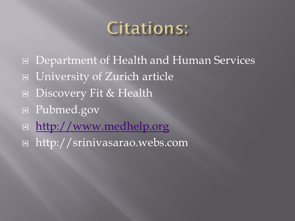 Citations: Department of Health and Human Services