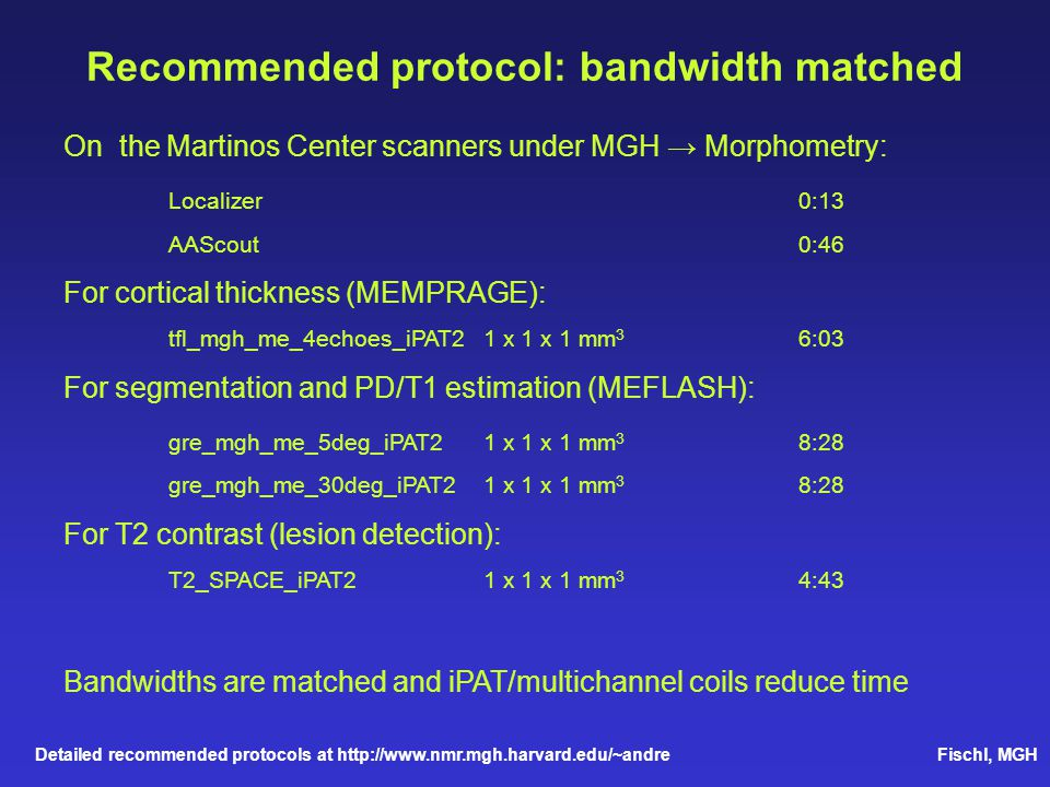 Recommended protocol: bandwidth matched