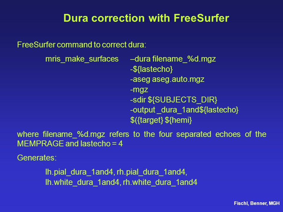 Dura correction with FreeSurfer