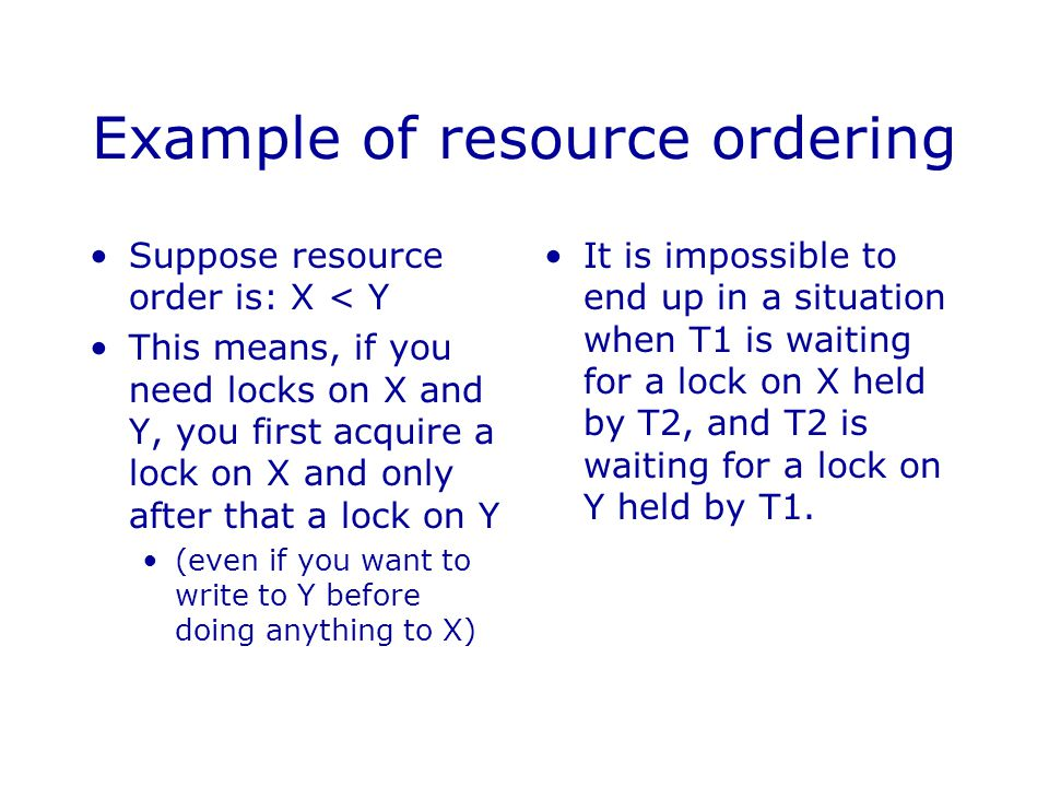 Example of resource ordering