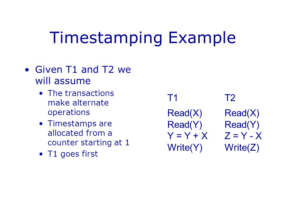 Timestamping Example Given T1 and T2 we will assume T1 T2