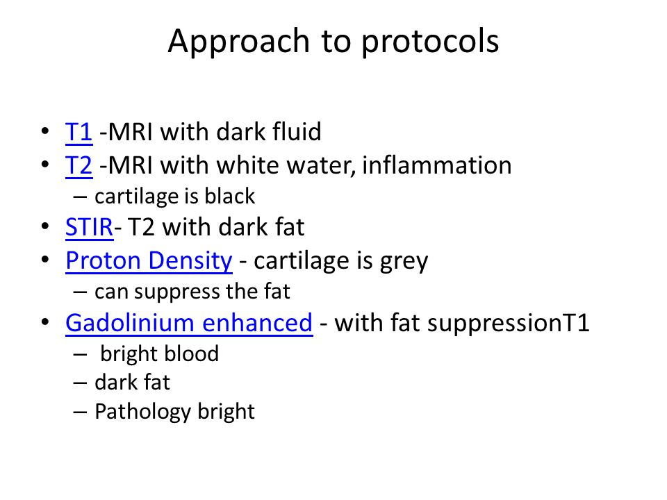 Approach to protocols T1 -MRI with dark fluid