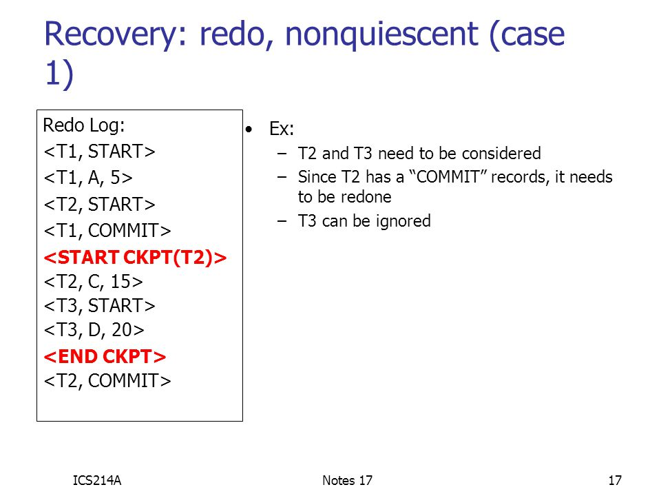 Recovery: redo, nonquiescent (case 1)