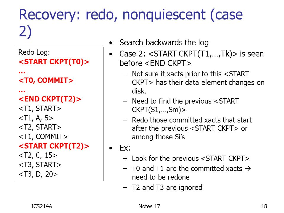 Recovery: redo, nonquiescent (case 2)