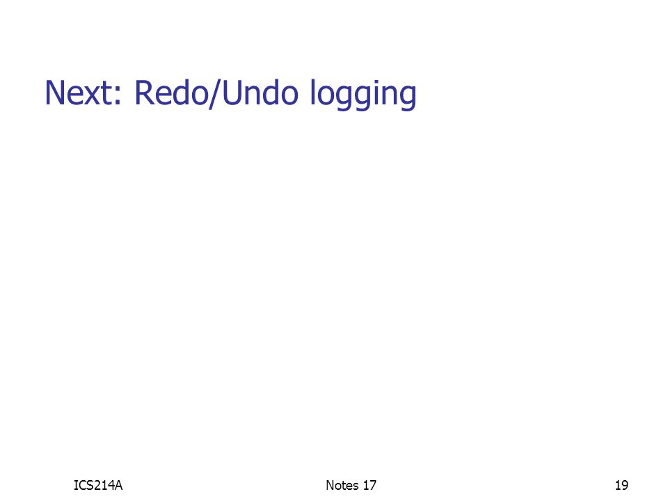 Next: Redo/Undo logging