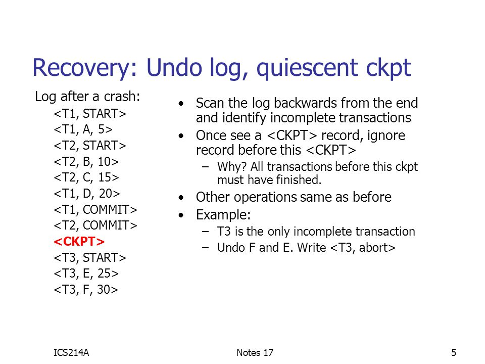 Recovery: Undo log, quiescent ckpt