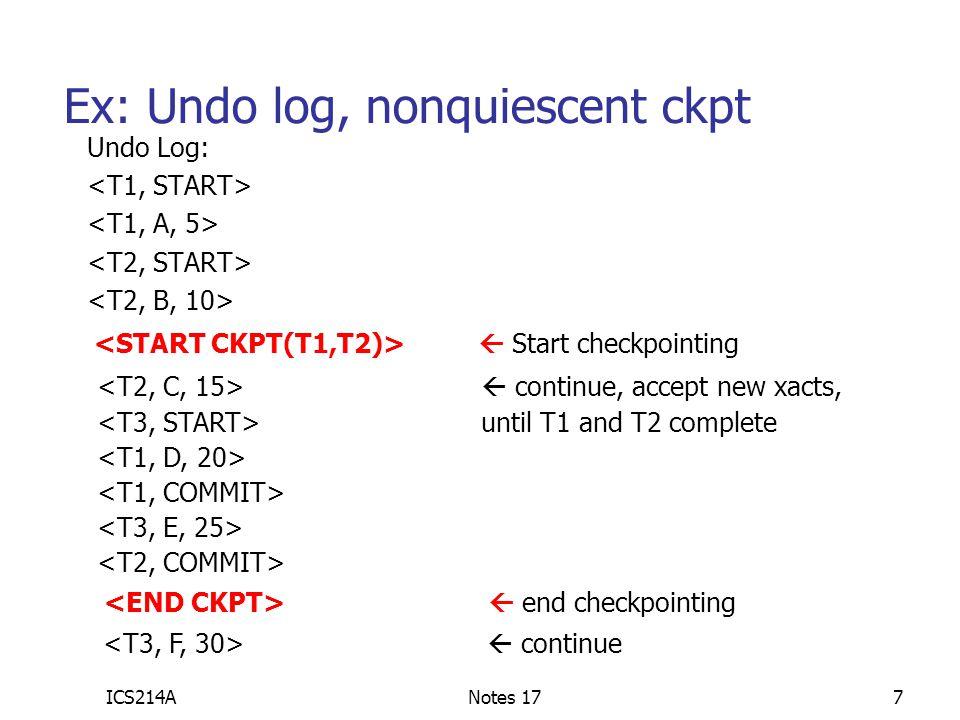 Ex: Undo log, nonquiescent ckpt