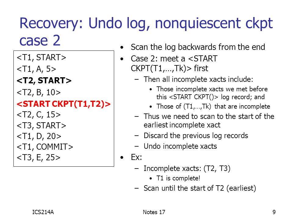 Recovery: Undo log, nonquiescent ckpt case 2