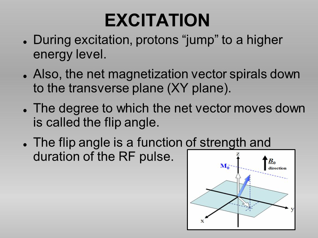 EXCITATION During excitation, protons jump to a higher energy level.
