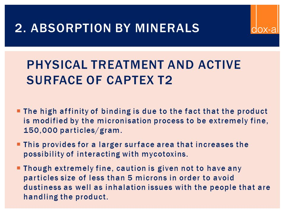 Physical Treatment and active surface of CAPTEX T2
