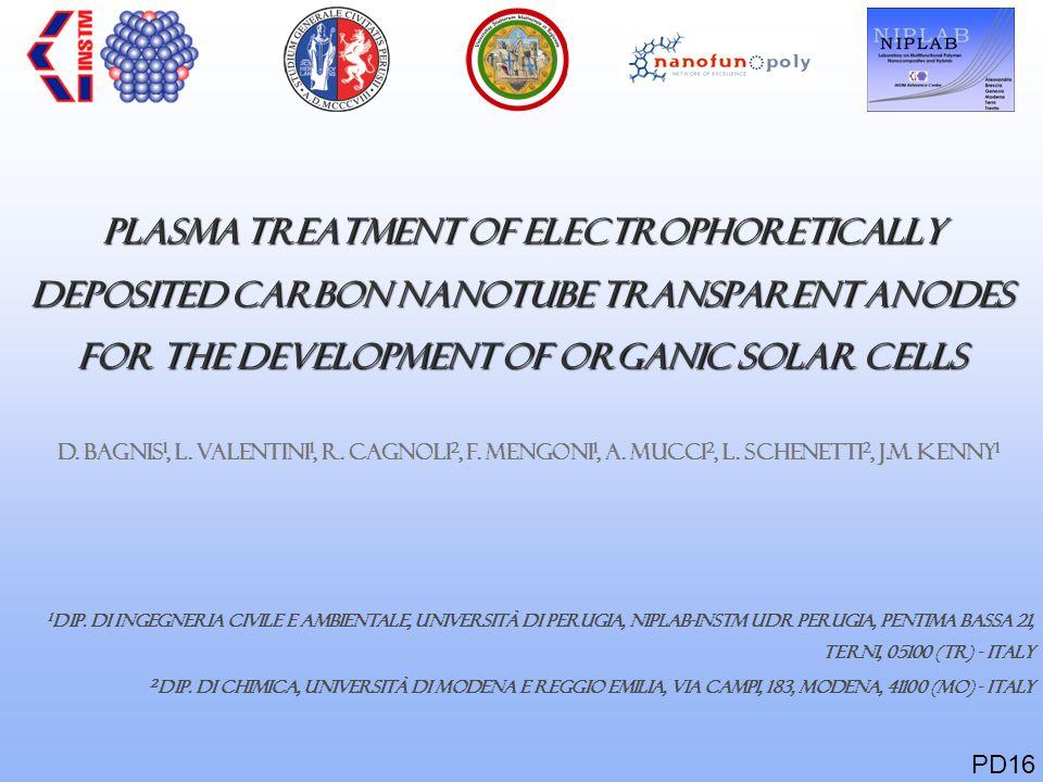 PLASMA TREATMENT OF ELECTROPHORETICALLY DEPOSITED CARBON NANOTUBE TRANSPARENT ANODES FOR THE DEVELOPMENT OF ORGANIC SOLAR CELLS