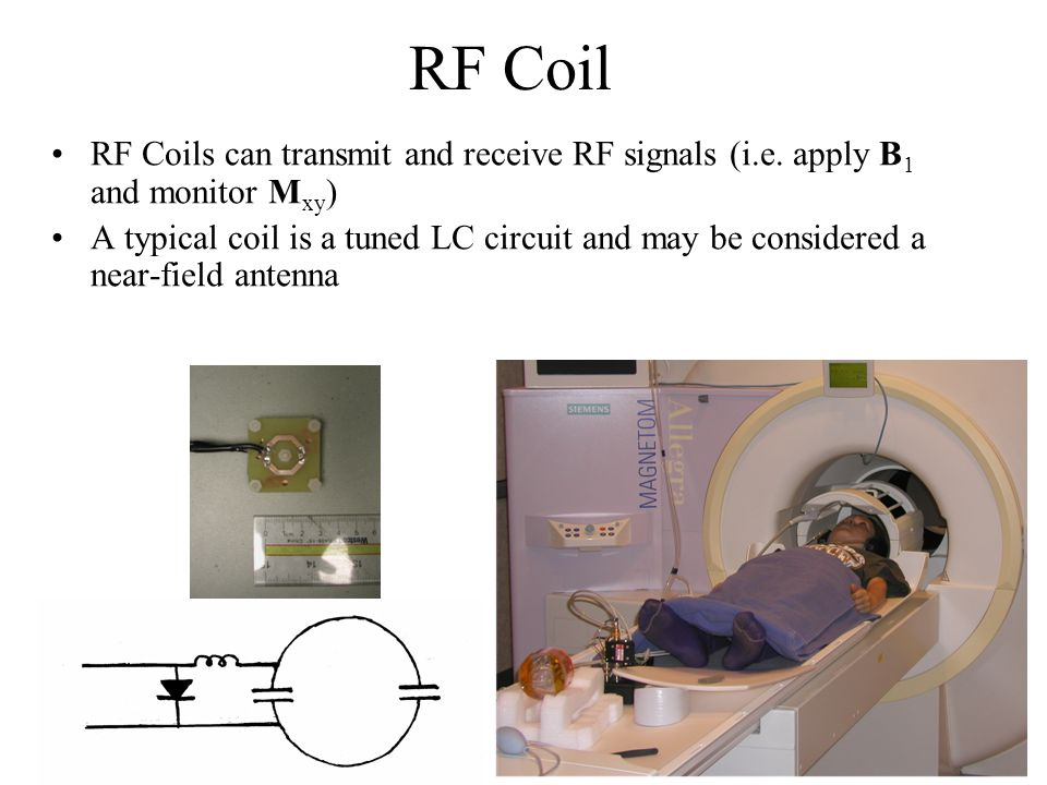 RF Coil RF Coils can transmit and receive RF signals (i.e. apply B1 and monitor Mxy)