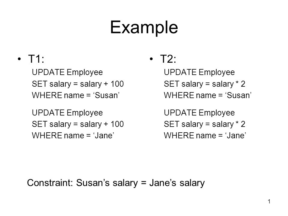 Example T1: T2: Constraint: Susan's salary = Jane's salary