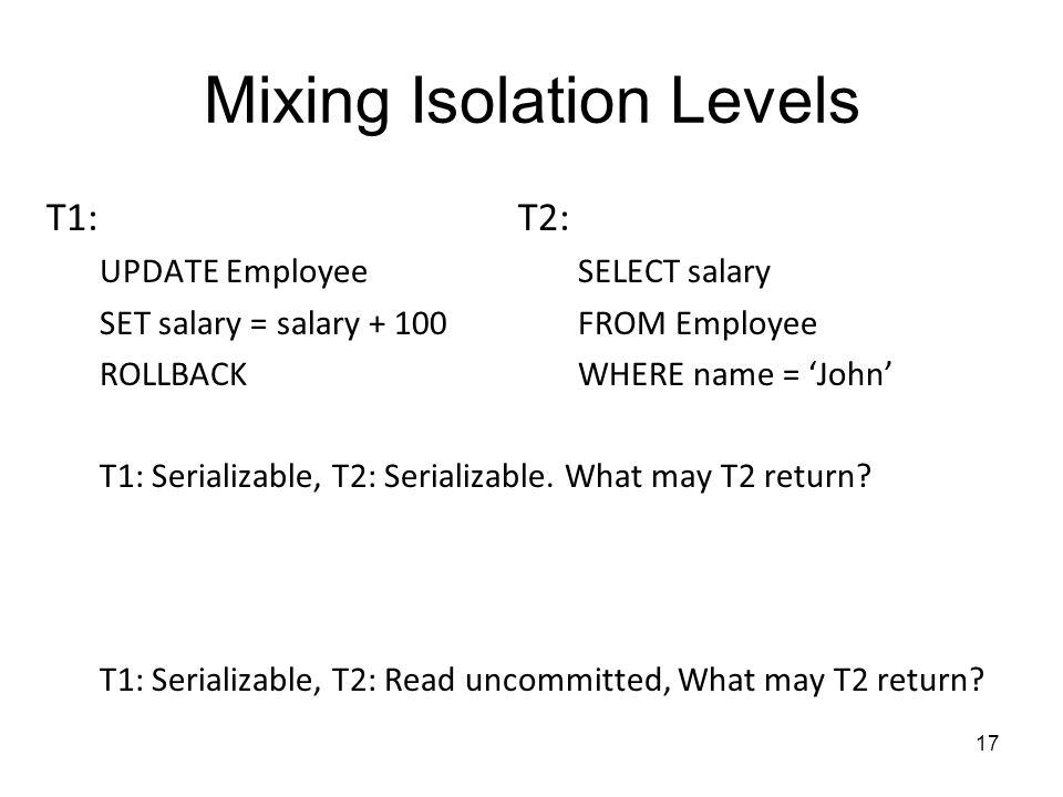 Mixing Isolation Levels