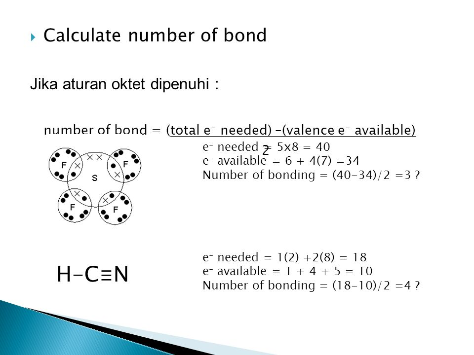 H-C≡N Calculate number of bond