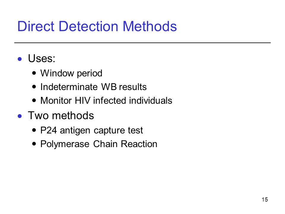 Direct Detection Methods