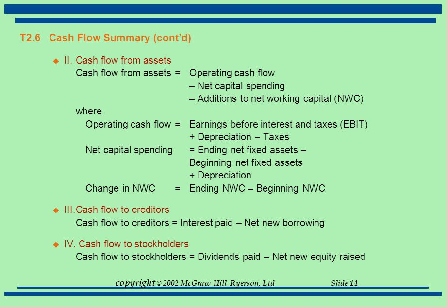 T2.6 Cash Flow Summary (cont'd)