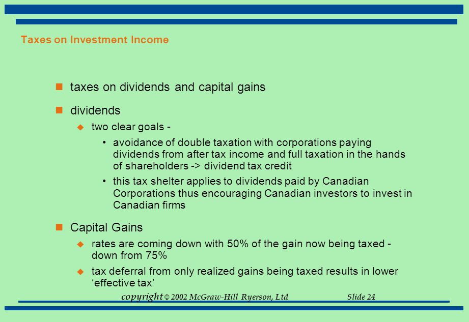 Taxes on Investment Income