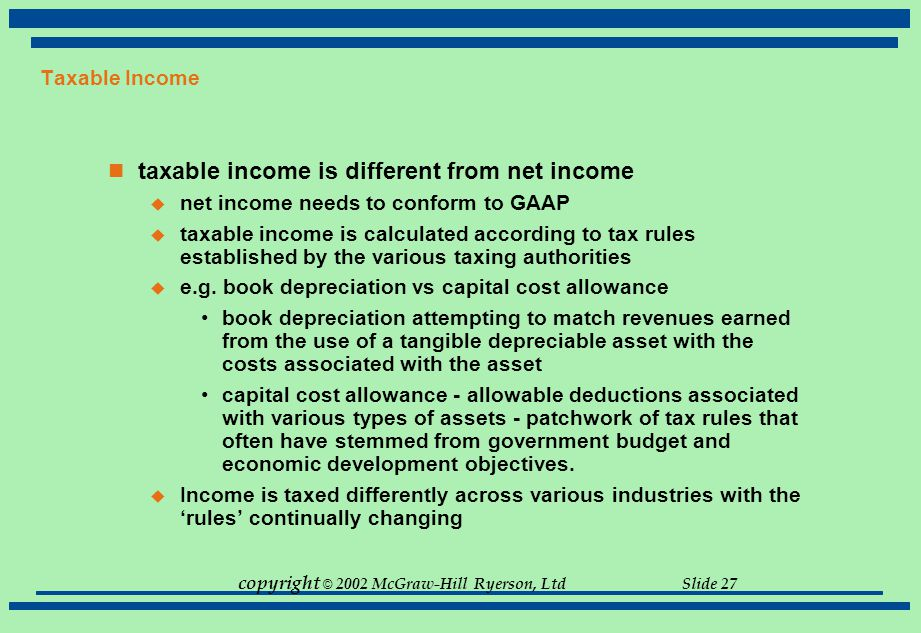 taxable income is different from net income