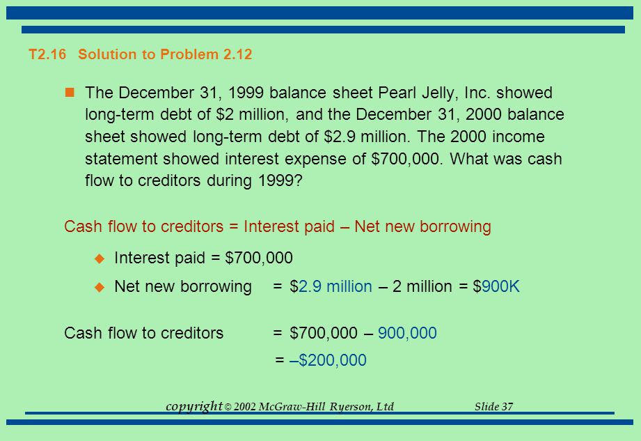 Cash flow to creditors = Interest paid – Net new borrowing