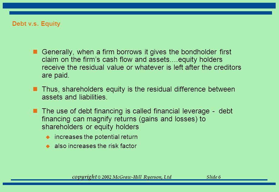 Debt v.s. Equity